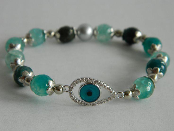 Blue/green agate bracelet with evil eye silver rhinestone charm by NadoandLola on Etsy