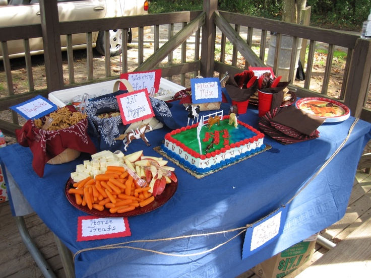 Horse Party Food Table Favorite Treats Baby Carrots And Sugar Cubes