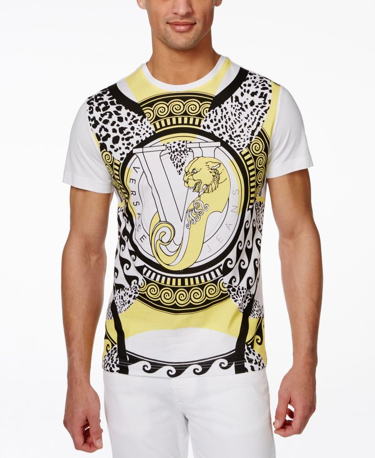 Versace Men's Black and Yellow Logo T-Shirt