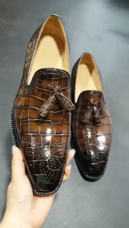 Couro de jacaré Tassel Loafer Confortável Slip-On Dress Shoes   – Dress in Style