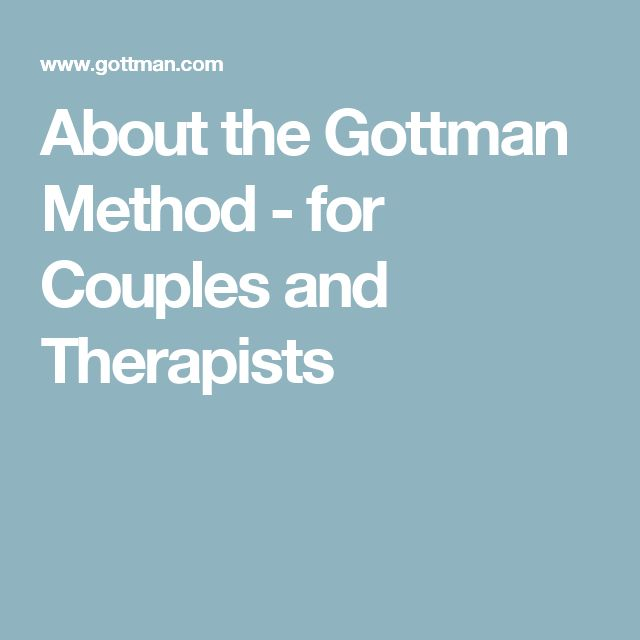 About the Gottman Method - for Couples and Therapists