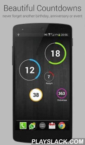 Countdown Widget For Events  Android App - playslack.com ,  Met Countdown Widget zult u nooit meer een verjaardag, pensioendatum, betaaldag, jubileum, afstudeerdatum, huwelijk, geboorte van een baby, examens, diensttijd, voetbalwedstrijd, zomervakantie of een andere belangrijke datum missen, inclusief aanbiedingen in winkels. Countdown Widget herinnert belangrijke data en gebeurtenissen in uw leven, zodat u dagen nooit meer handmatig in uw kalender of agenda hoeft af tellen.We hebben…