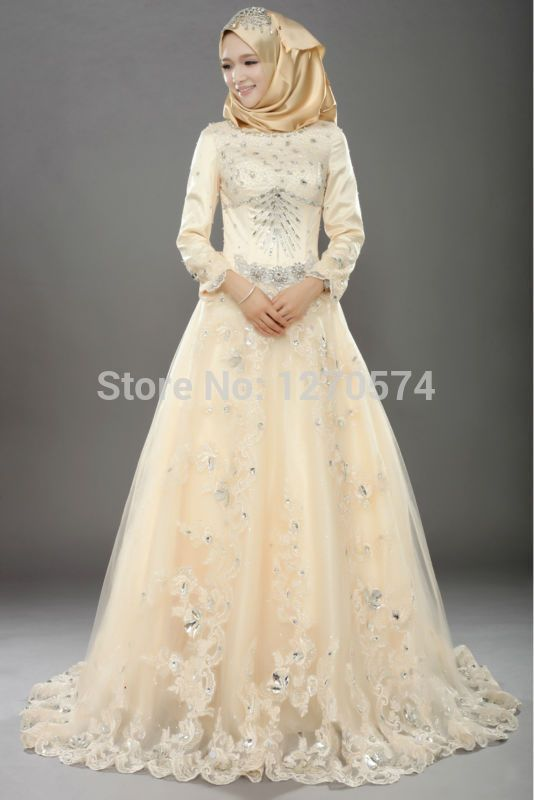 Muslim bridal gowns 2015 dress tulle champagne long for Wedding dresses for muslim brides