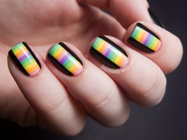 Just have to love the stripes…find out the step-by-step from Chalkboard Nails here.