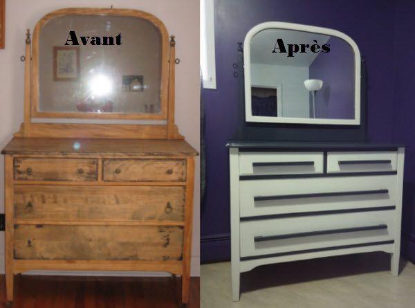 Relooking old dresser - Refait look bureau