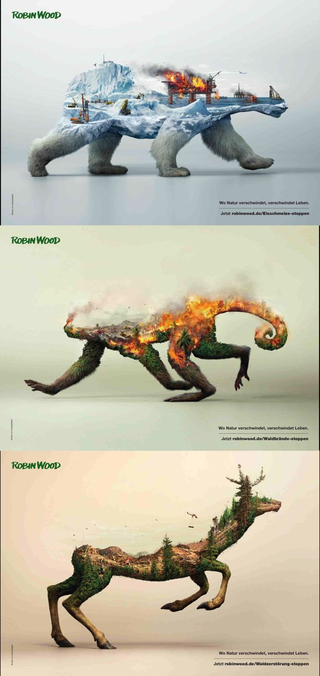 Love these prints about deforestation by Robin Wood