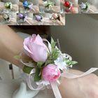 Boda o fiesta de graduación muñeca Corsage de flores con larga banda para la muñeca de seda Rose flores de novia o la dama de honor fuentes de la decoración de MLW