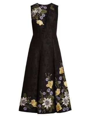 Gown Erdem Embroidered Cotton Floral Yasmine Blend SIpaUpq