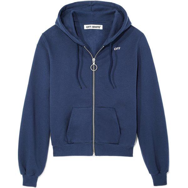 Blue 'Off Logo' Zip-Up Hoodie ❤ liked on Polyvore featuring tops, hoodies, zip up hoodie, hooded sweatshirt, hoodie top, logo tops and blue top