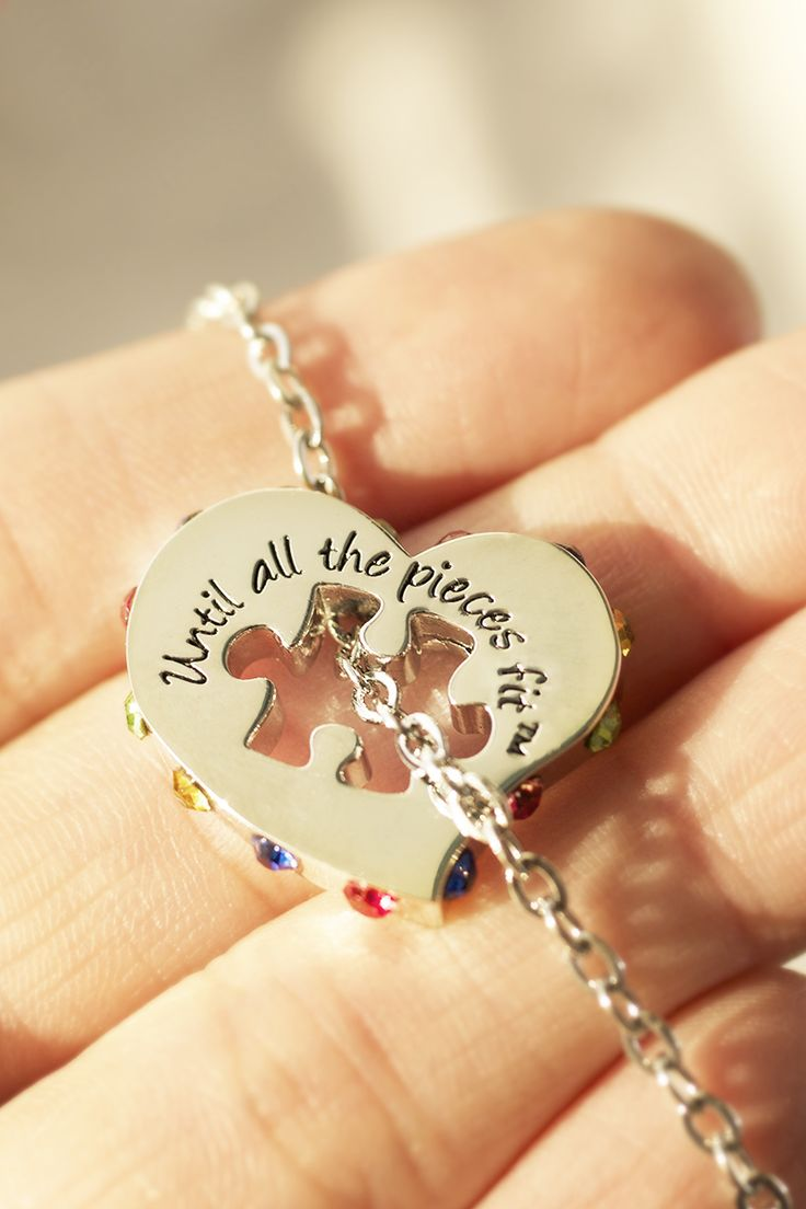 Just as one heart does not make a community, a single piece doesn't form a puzzle. Our twinkling pendant is a reminder each family in the spectrum is working together as the complexities of autism are overturned... until all the pieces fit.