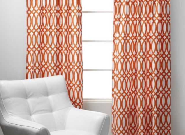 Geo Panels   Sunset Orange Curtains Sure Wish I Could Find These Somewhere!