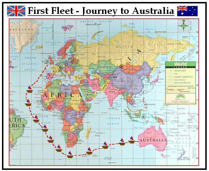 The route of the First Fleet in 1788 from England to Sydney to establish the first colony. January 26 is Australia Day.