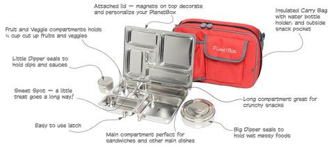 PlanetBox Rover Best Stainless Steel, Eco, Safe and Healthy Lunchbox | PlanetBox