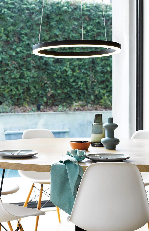 The Beacon Lighting LEDlux Circa Ring 600mm 2000 lumen dimmable LED pendant in black