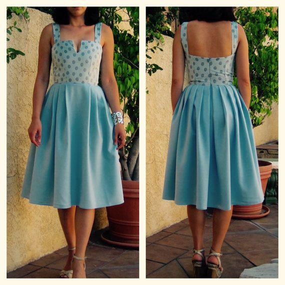 1950s dress / 50s dress / pinup dress / full skirted dress / swing dress / fit and flare/ bridesmaid dress / midi dress/ retro dress