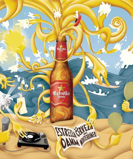 Ilustración de Michele Angelo - Cerveza Damm