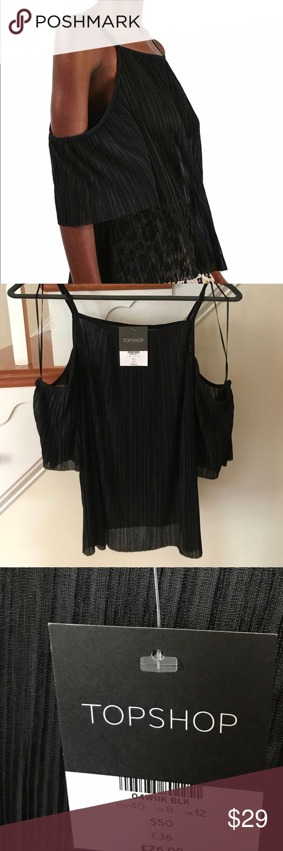 Pleated Sheer Topshop Top NWT Pleated Black Topshop Top.  Top is a Sheer Pleated Material with Spaghetti Strap and Cold Shoulder Design. Topshop Tops