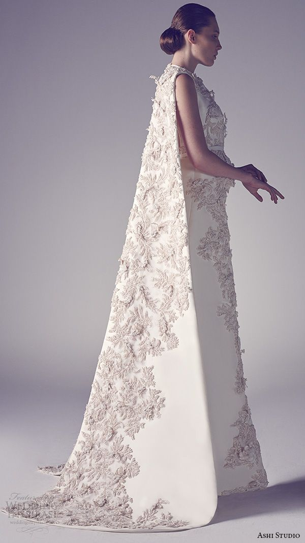 ashi studio couture 2015 jewel neckline sleeveless floral embroideries inner pants sheath dress with cape side view