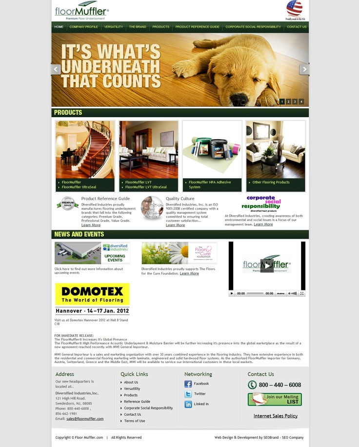 Home page provides users with a sense of comfort and trust in the Floor Muffler product line.