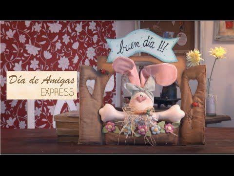 Día de amigas Express - Como hacer un cartel con un conejo de tela - YouTube