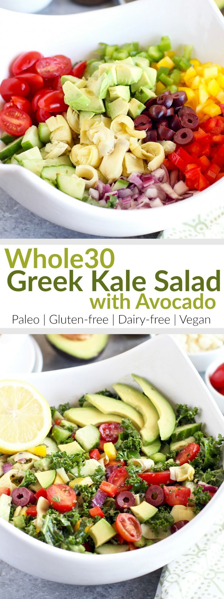 Greek Kale Salad with Avocado is a hearty and colorful salad that's packed to max with flavor, healthy fats, and nutrient-dense veggies! The perfect salad for upcoming potlucks and summer grill-outs. | The Real Food Dietitians | http://therealfoodrds.com/greek-kale-salad-avocado/