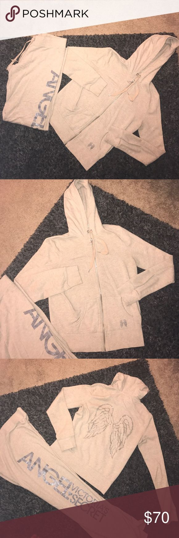 Victoria's Secret set Zip up hoodie and sweat pants set from Victoria's Secret. Beige color with chrome silver embellishments. Wore acouple times but still in great condition no flaws. Size small sweatpants and size medium top. I'd prefer to sell together but can sell separate if you want Victoria's Secret Tops Sweatshirts & Hoodies