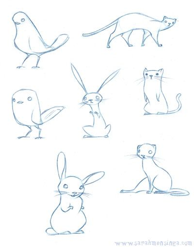 cute sketches of birs bunnies and kittehs by sarah mensinga