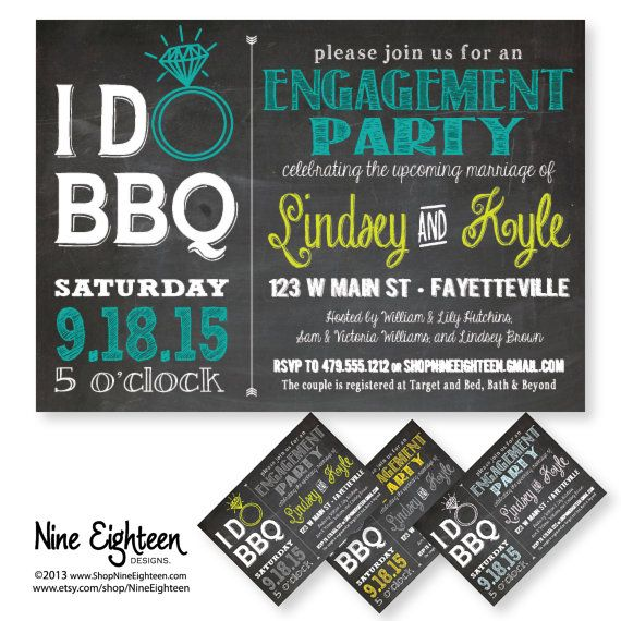 I Do BBQ Engagement Party or Bridal Shower. Custom by NineEighteen, $12.00