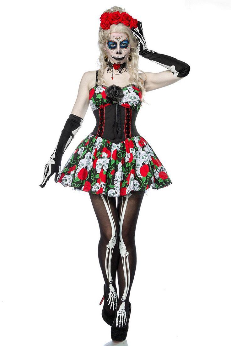 Horrorkostüm Komplettset Damen inklusive Petticoat Kleid und Zubehör