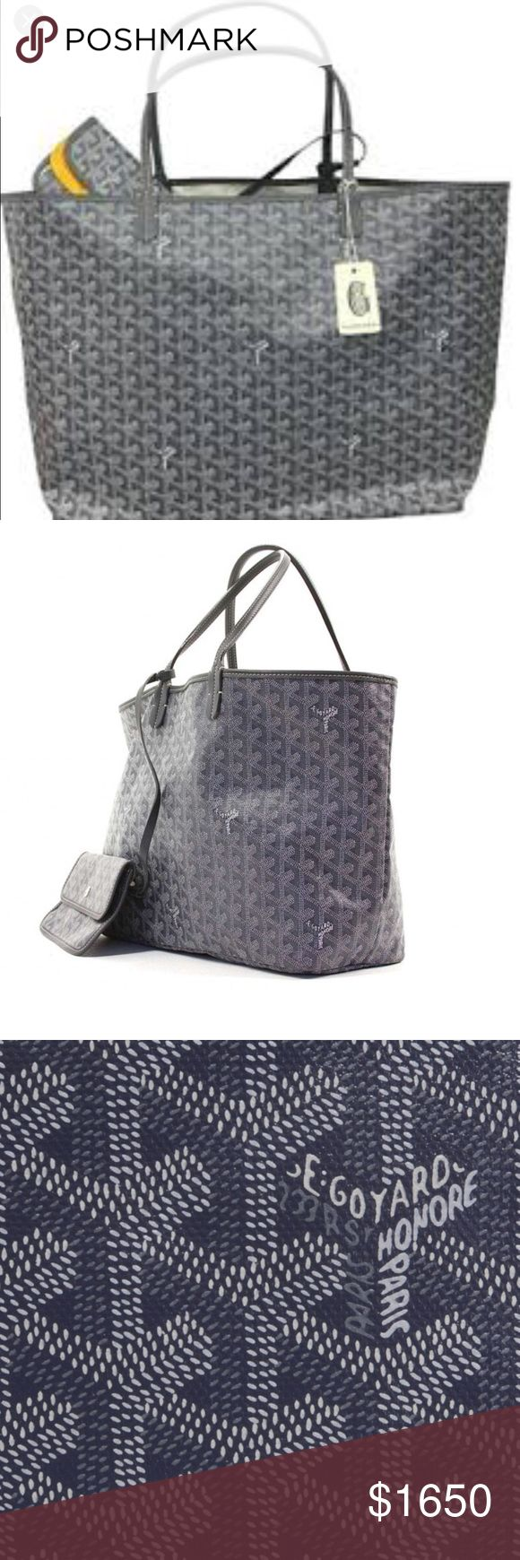 Goyard gray large size tote Goyard authentic large size tote in gray.st Louis GM size and shape. Like new condition. NO visible signs of wear. Purchased at Barneys NYC in February. Original price is 1750. In excellent condition - interior and exterior. Small wallet attached and included. Have original Goyard dust bag and tags are included. Goyard Bags Totes