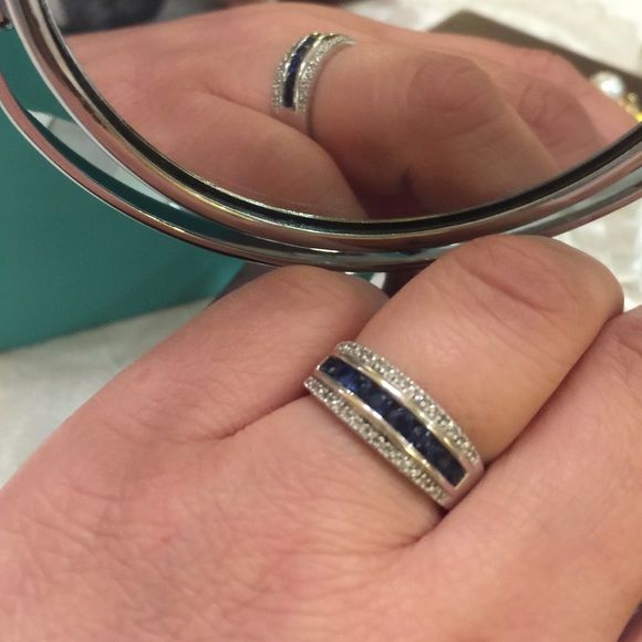 Diamond and Saphire ring Diamond and Saphire ring, size 7 - beautiful band style, bought at Macy's 14k ZMR Jewelry Rings