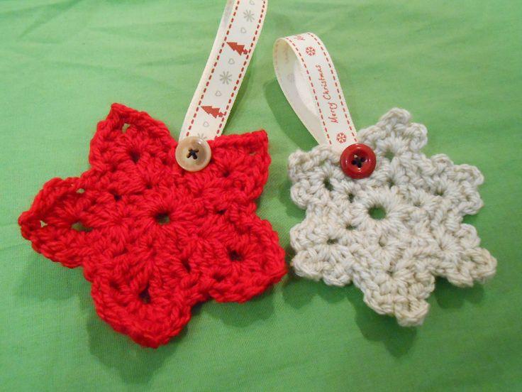 Crochet christmas star and snowflake pattern
