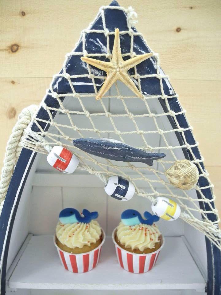 bateau avec filet de p che d coratif pour table sucr e th matique marin farine et chocolat. Black Bedroom Furniture Sets. Home Design Ideas