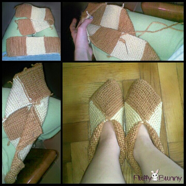 Hand-dyed handmade knitted slippers! Dyed with orange peel and onion peel!!!!