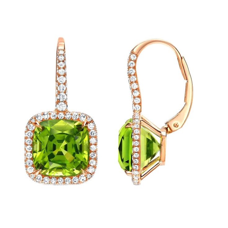 Tamir 9 46 Carat Peridot Diamond Rose Gold Lever Back Earrings