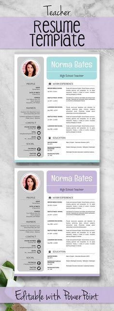 neat teacher resume template cover letter references editable infographic powerpoint free download sample presentation curriculum vitae