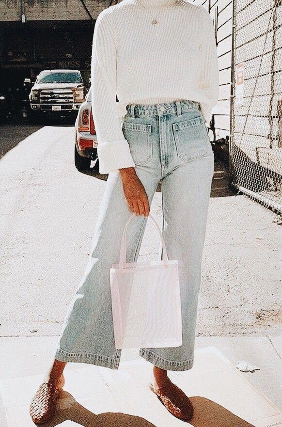 wide leg lightwash jeans 1