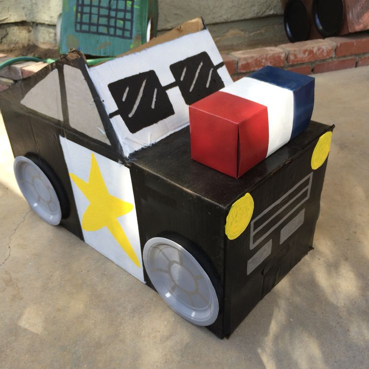 Diy cardboard box cop car