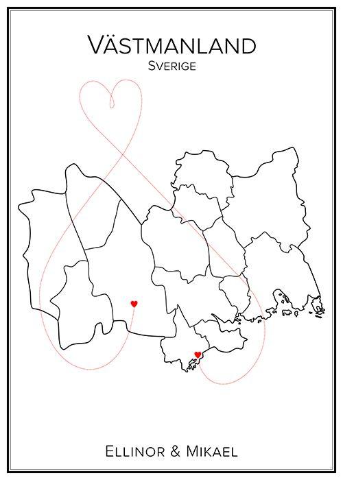 Kärlekskarta. Västmanland. Sverige. Map. City print. Print. Affisch. Tavla. Tryck. Stadskarta.