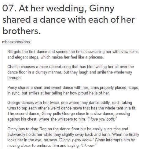 Harry and Ginny's wedding.bi legit just started crying this is beautiful and so tragic