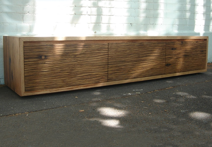 Mark Tuckey low warehouse box, three door. weather checked hardwood