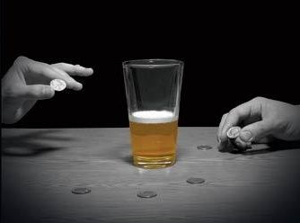 We all went home one night with our significant others and with Mom & Pop in the room we decided to  played Quarters.  Pop thought it was funny. Mom-not so much. We, however, still  don't know whether to laugh or throw up every time we hear a coin hit the floor. 16 Classic Drinking Games -