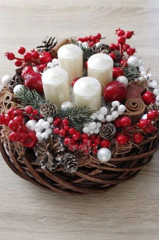 35 Trend Simple Rustic Winter Christmas Centerpiec…