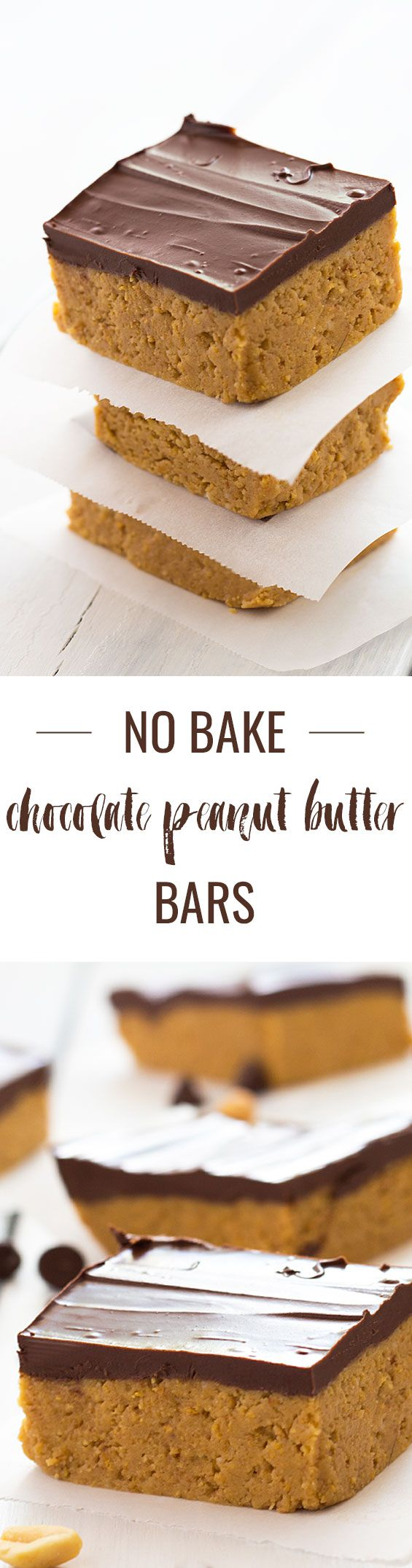 No-Bake Chocolate Peanut Butter Bars - Just 5 ingredients and no oven required!
