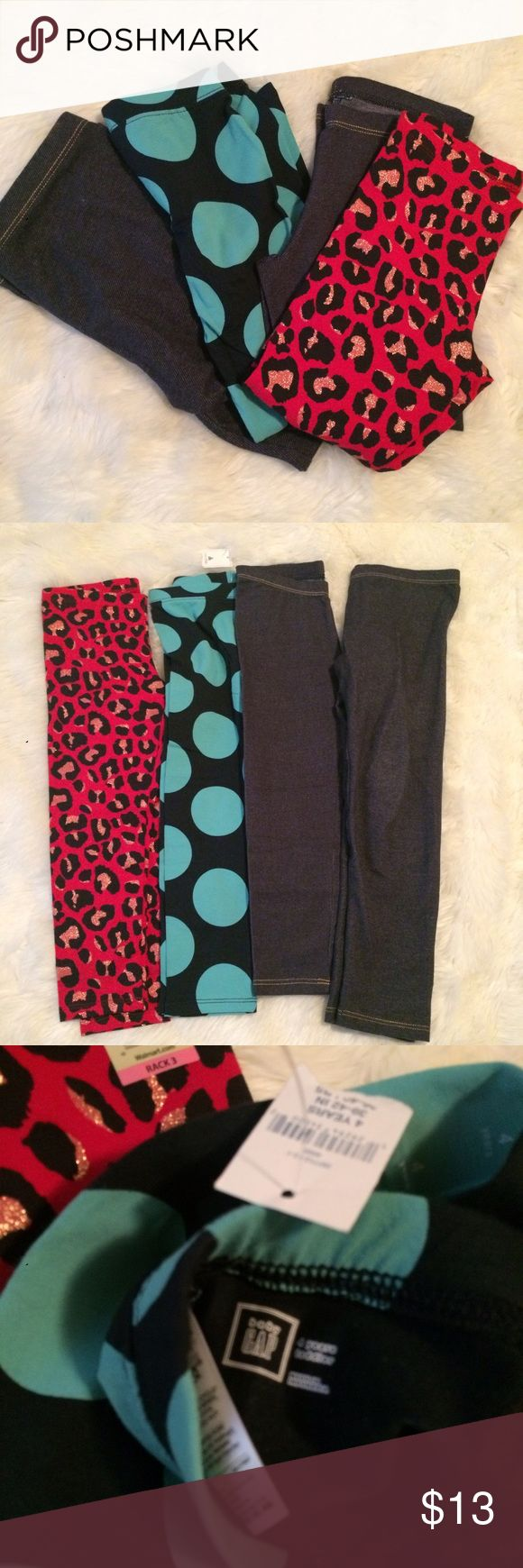 New 4 pairs of leggings toddler 4t/5T All brand new with and without tags #gap #turquoise #cheetah #leggings #pants #bundle #kids #girlsbundle #4t #5t #new #mixedbrands GAP Bottoms Leggings