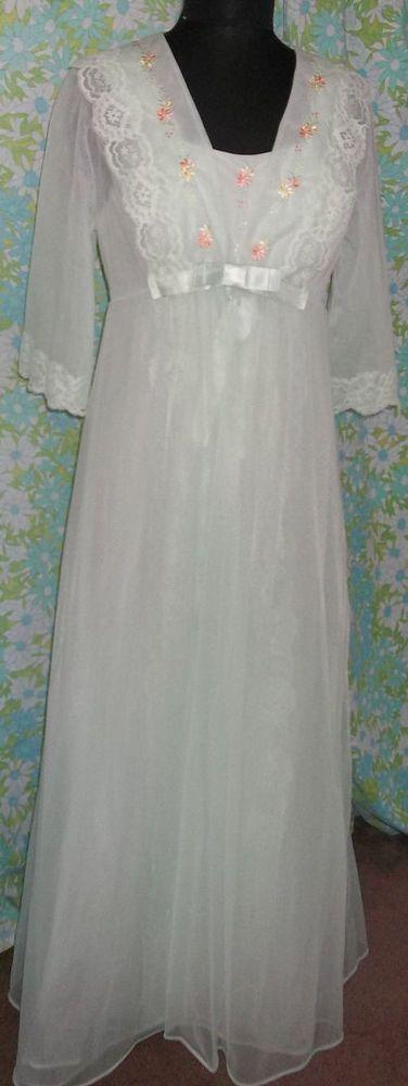 Vintage Embroidered Shadowline Green Peignoir Robe Nightgown Gown Set Med Unused #Shadowline