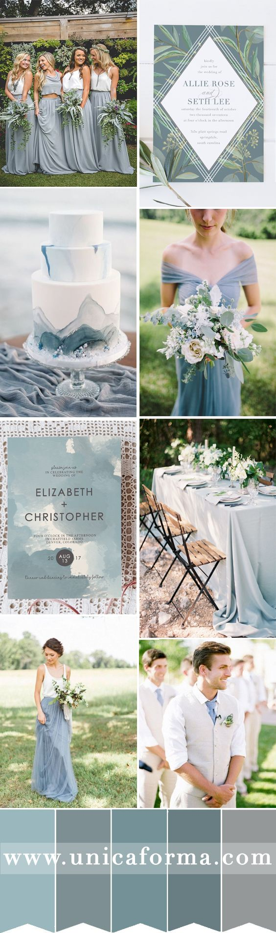 Slate blue wedding with grey accents. Dusty blue wedding. Boho wedding. Bohemian bridesmaids dresses. Slate wedding cake. Dusty blue bouquet. Marble wedding cake. Watercolor wedding invitations. Dusty Blue wedding invitations. Rustic wedding. Garden wedding. Eucalyptus leaves wedding. Dusty Blue groomsmen. Slate blue bridesmaids. Light blue wedding. Iron grey wedding palette. Invitations by @UnicaForma_