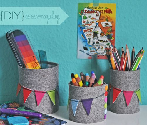 Tin Cans organizer Covered with Felt paper