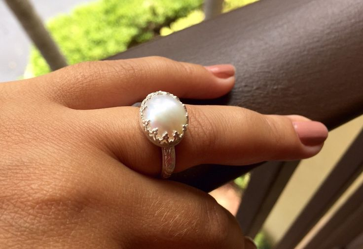 Handcrafted Pearl and Sterling Silver Ring. by Jewelriart on Etsy https://www.etsy.com/listing/245062260/handcrafted-pearl-and-sterling-silver