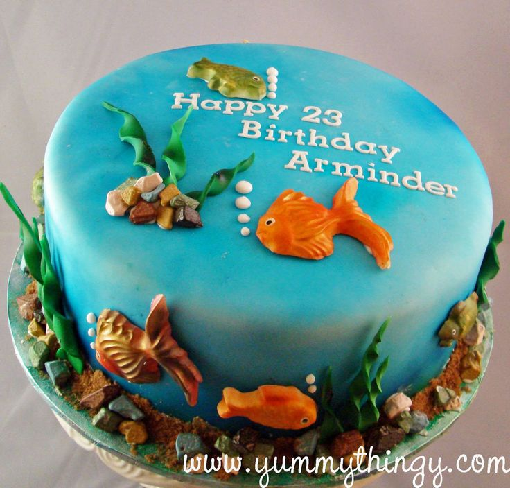 Best 25 aquarium cake ideas on pinterest sea cakes for Fishing themed cakes